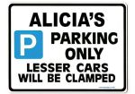 ALICIA'S Personalised Parking Sign Gift | Unique Car Present for Her |  Size Large - Metal faced